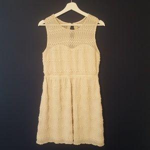 Cream sweetheart dress with sheer top